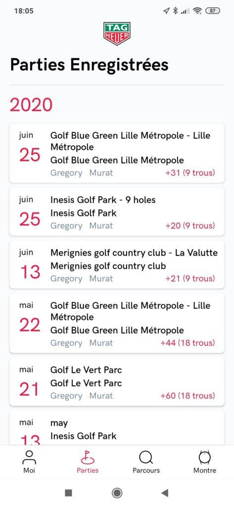fandegolf.fr - application Tag Heuer - mes parties